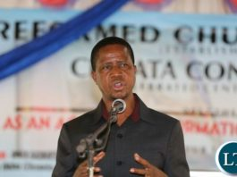 President Edgar Lungu at Reformed Church in Zambia Chipata ongregation during the Church Service on Sunday