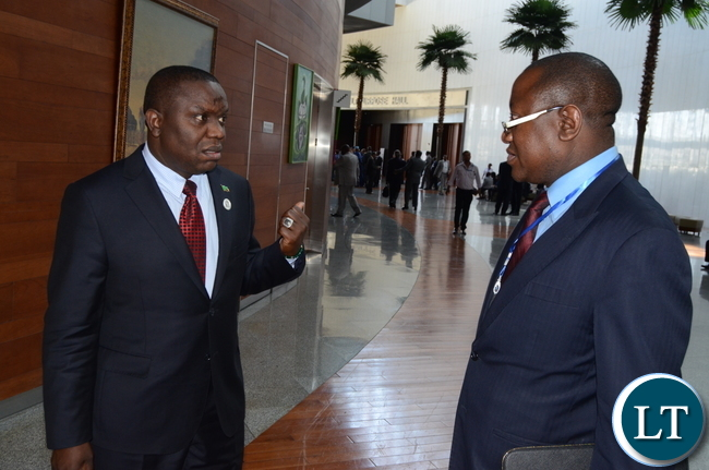 Foreign affairs minister Harry Kalaba with Sam Mujuda after the Opening Session of the 30th Ordinary Session of the Executive Council at Au Building in Addis Ababa, Ethiopia on wed, January 25,2017