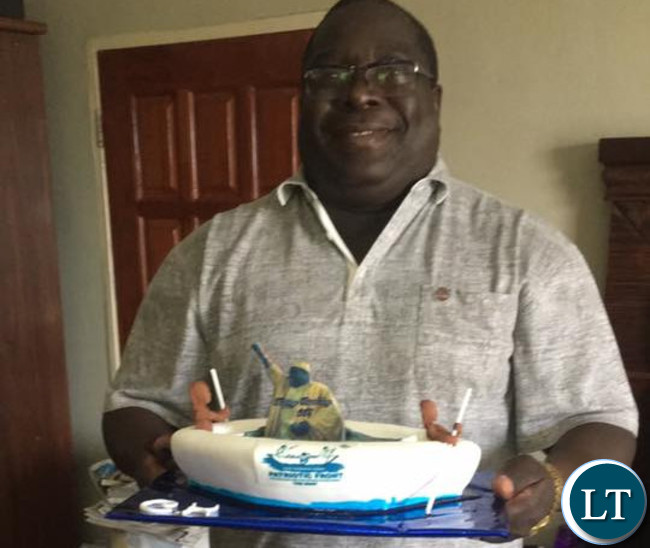 Kambwili displays his birthday cake