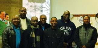 Lusaka Mayor Wilson Kalumba (with a scarf) and his delegation upon arrival in the USA last week