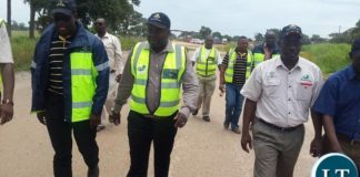 Mr Chitotela touring the construction site for Kafulafula toll plaza