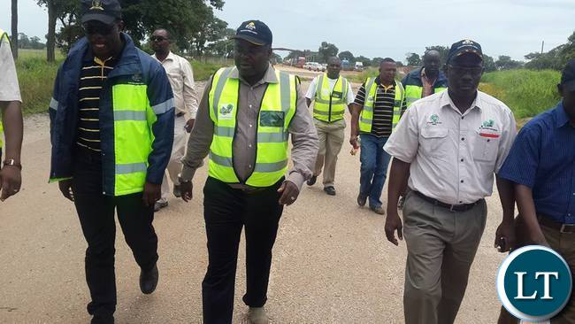Mr Chitotela touring the construction site for Kafulafula toll plaza