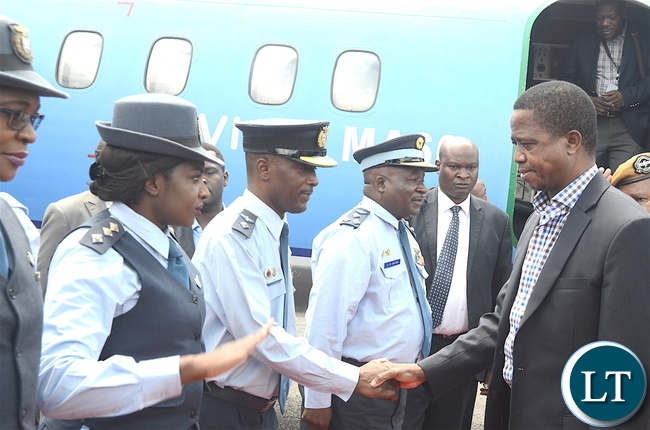 President Lungu greets pilots on arrival at South Downs Airport in Kalulushi for a tour of Copperbelt on Thursday, January 5,2016 -Pictures by THOMAS NSAMA