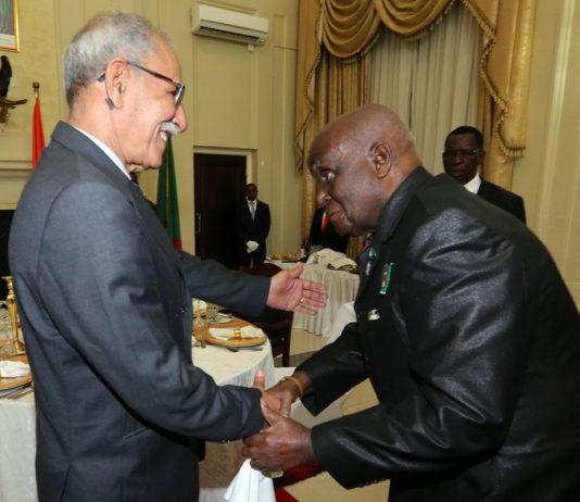 President Brahim Ghali President Of Sahrawi Meets Dr Kenneth Kuanda at State house in Lusaka