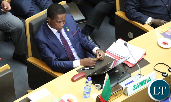President Edgar Lungu at AU opening Session in Addis Ababa Ethiopia