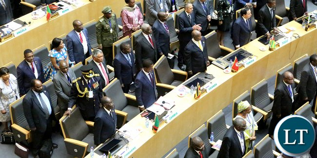 President Edgar Lungu with other African Leaders at 28th Opening session in Addis Ababa2206. Picture by Eddie Mwanaleza/Statehouse 30-01-2017.?