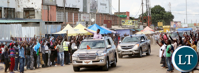 President Lungu drive past at City Market