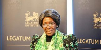 Vice President Mrs Inonge Wina addressing a meeting at Legatum Institute in London.