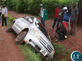 The driver of the Toyota IST Reg No. ALV 5737 plunged into the drainage system along the Independence Highway opposite NAPSA Building in Solwezi on Tuesday night and escaped death. The unidentified driver is, however, on the run