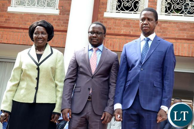 President Lungu with Vice-President Inonge Wina during the Swearing-In-Ceremony of newly appointed Central Province Permanent Secretary Chanda kabwe at State House on Tuesday,January 10,2017 -Picture by THOMAS NSAMA