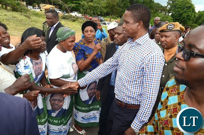 President Lungu greets PF supporters on arrival in Kitwe  on Thursday, January 5,2016 -Pictures by THOMAS NSAMA
