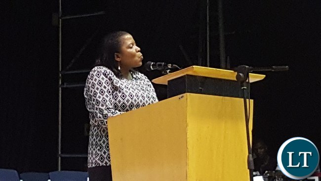 First Secretary for Immigration, Mrs. Joyce Chimalilo speaking at the Zambia Association in South Africa at the annual general meeting in Kempton Park, South Africa on 28th January, 2017