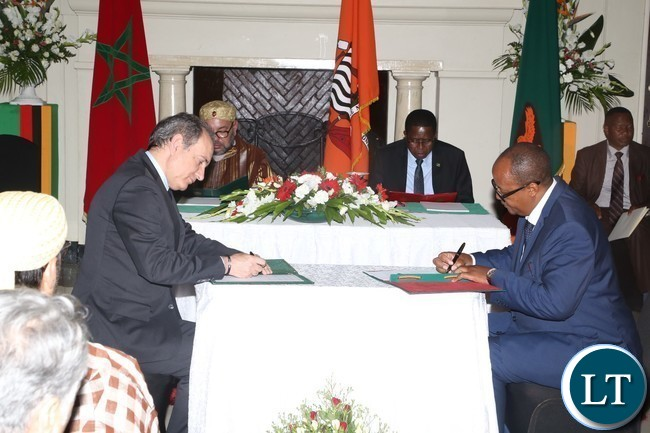 CEO of the Zambia Tourism and Agency Felix Chaila and his Moroccan CEO National Tourist Office Abderrafia Zouitene signs  MOU on MNTO and ZTA at State House