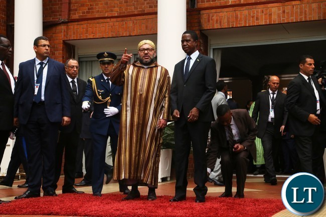 President Edgar Lungu having talks with His Majesty Mohammed VI King of Morocco at State House
