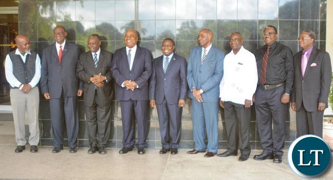 Right to Left-Kalombo Mwansa,Wiber Simusa,Kabinga Mpande,Venon Mwanga,Harry Kalaba,Rupiya Banda,Kelly Walubita,Ronnie Shikapwasha and Katele Kalumba poses for a photo after the working breakfast with Former Foreign Affairs Ministers