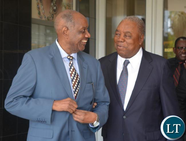 Forth Republican President Rupiya Banda(r) and Former foreign Affairs Ministers Venon Mwanga(l) during the working breakfast with Former Foreign Affairs Ministers