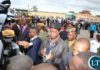 President Edgar Lungu addressing journalists at city airport shortly before his departure for North Western Province