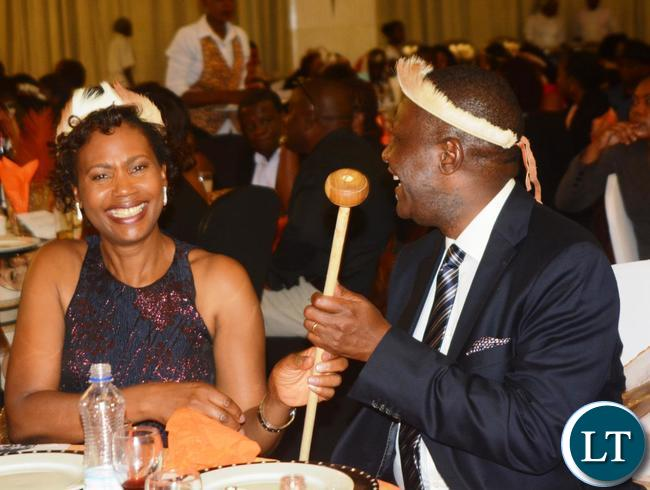 Finance Minister Felix Mutati(l) and his Wife Grace during the Ngoni Cultural Night and Dinner Dance at New Government Complex