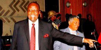 Felix Mutati gestures in Parliament