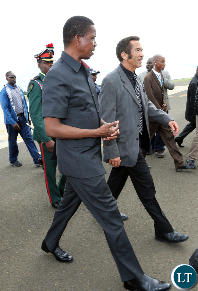 President Edgar Lungu with Botswana President Gen Dr Ian Khama at Kasana international airport in Botswana on Monday 06-02-2017