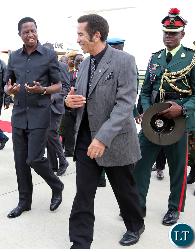 President Edgar Lungu with Botswana President Gen Dr Ian Khama at Kasana international airport in Botswana on Monday