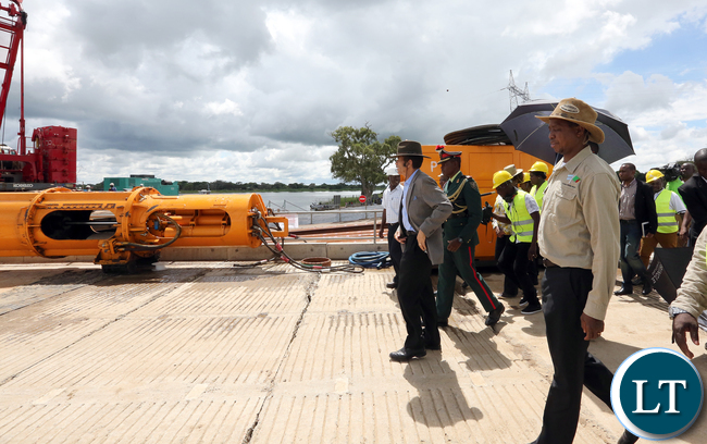 President Edgar Lungu with President Gen Ian Khama Tour Kazungula Bridge Project