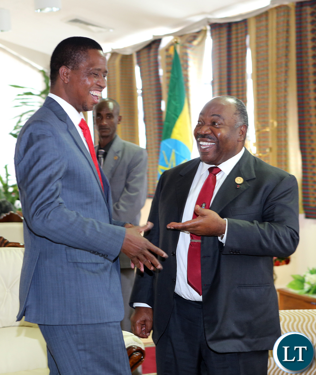 PresidentLungu with Gabon President