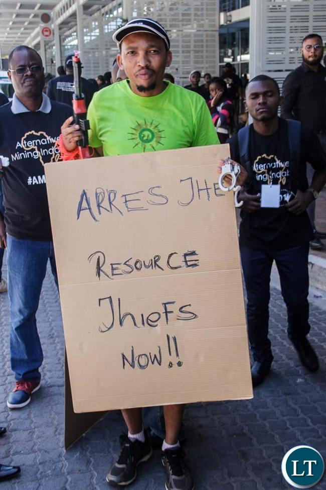 Some protesters outside the Cape Town International Convention Centre
