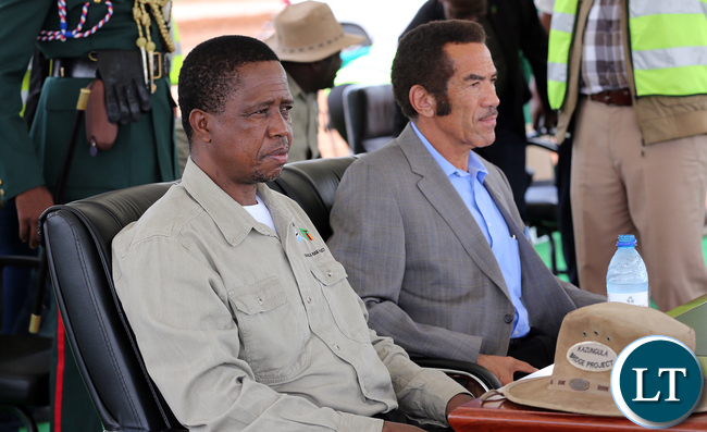 The President EdgarLungu with President of Botswana, H.E Ian Khama