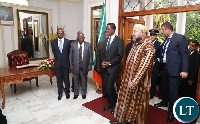 President Edgar Lungu welcomes His Majesty Mohammed VI King of Morocco at State House