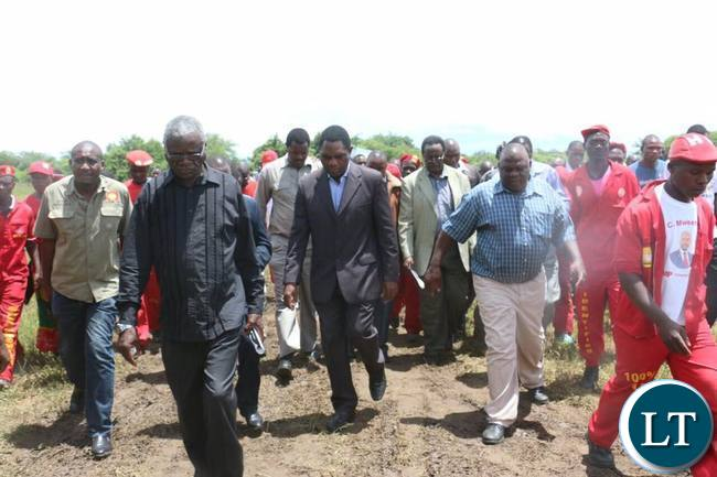HH and his entourage arriving for the late  Reeves Malambo's burial in Nega Nega