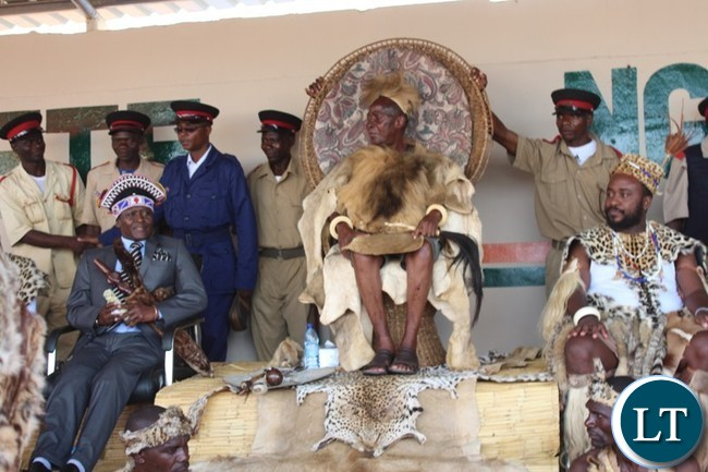 PARAMOUNT Chief Mpezeni ( centre), Senior Chief Mwata Kazembe ( left) and Paramount Chief Mbelwa of the Ngoni people of Malawi at this year's Ncwala ceremony in Chipata on Saturday. PICTURE BY STEPHEN MUKOBEKO/ZANIS