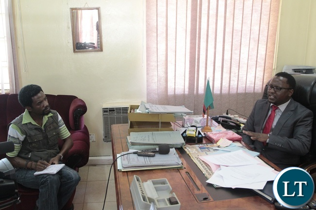 central province Permanent Secretary Chanda Kabwe speaking in an interview with ZANIS over the army worms at his office in Kabwe