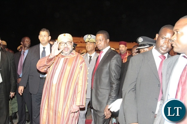 President Edgar Chagwa Lungu (left) welcomes King Mohammed VI (right) of Morocco at Kenneth Kaunda International Airport on Sunday,February 19,2017. PICTURE BY SALIM HENRY/STATE HOUSE ©2017