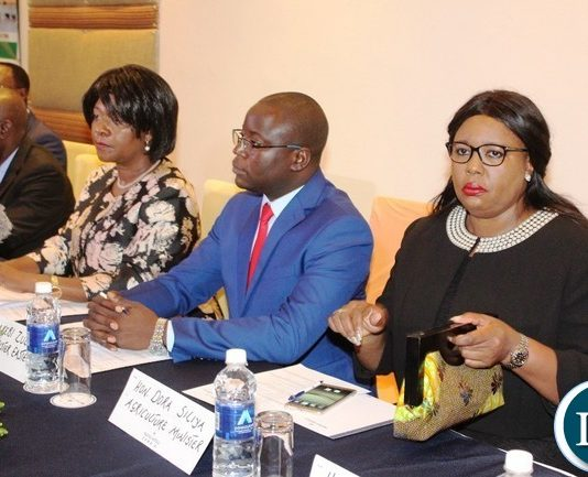 From right to left: AGRICULTURE Minister, Dora Siliya, Eastern Province Minister, Makebi Zulu, Commerce Minister, Margaret Mwanakatwe and Luapula Province Minister, Nixon Chilangwa, during the first Eastern Province Symposium on development held at Protea Hotel in Chipata