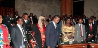 President Edgar Lungu flaked by the Speaker of Parliament Patrick Matibini enters the National Assembly of Zambia shortly before the Nation address on the application of Constitutional Values and Principles