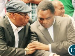 Dr Nevers Mumba and HH during the news conference at UPND news conference