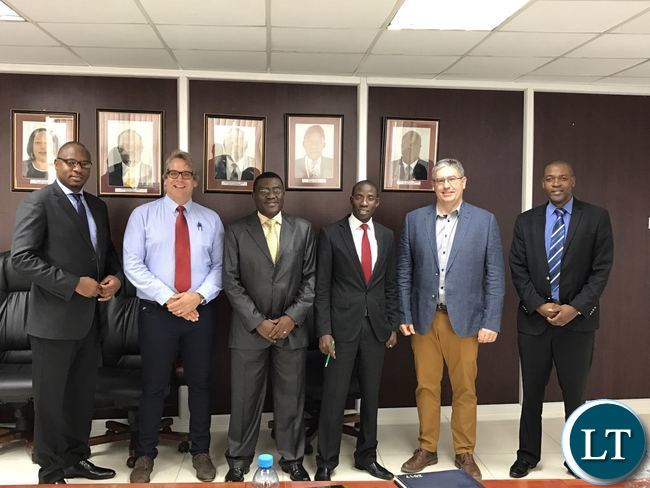 L to R: Mr. Mande Kauseni, First Secretary for Economics & Trade at the Zambian High Commission in Pretoria; Mr. John Nutt of Delf Consulting Engineers; Mr. Alfred Mwila,  Energy Regulation Board Director for Economic Regulation; Technical Leader from MDH (Pty) Ltd of South Africa; Mr. Wallace Chitungu, ERB Legal Counsel; Mr. Zander van der Walt, Project Director of MDH and Mr. Joseph Malama, Senior Manager for Technical Regulation, and Mr. Maka Sikazwe, Senior Manager Executive Directors Office at ERB.