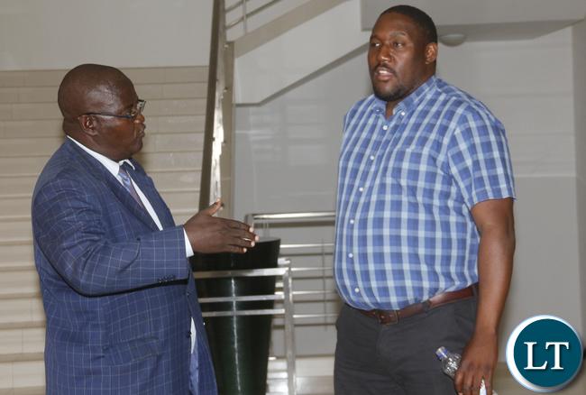 Lusaka Dynamos CEO Simataa Simataa with Lusaka lawyer Sukwana Lukangaba.