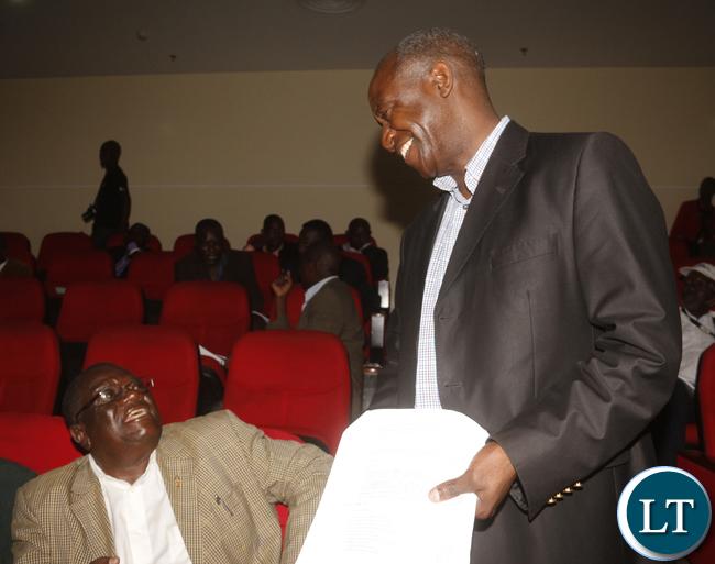 RAZ President Will Chikuka with ZAFCA President Patrick Kangwa interacting.