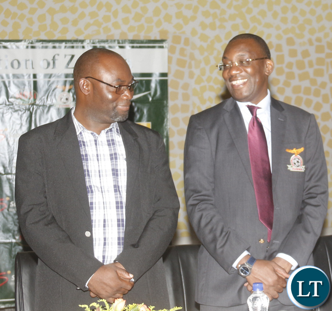 FAZ President Andrew Kamanga with Sports Minister Moses Mawere (prior to AGM and during the singing of National anthem).