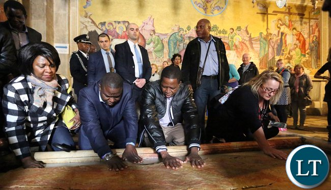 President Edgar Chagwa Lungu with his delegation outside the Thomb were Jesus Christ Was Put To rest in Jerusalem