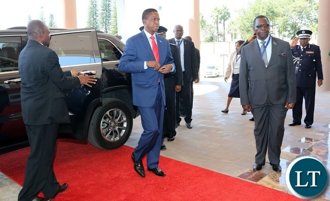 President Edgar Lungu arrive at SADC Summit