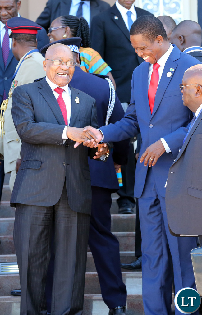 President Lungu with President Zuma at the SADC Summit In Swaziland