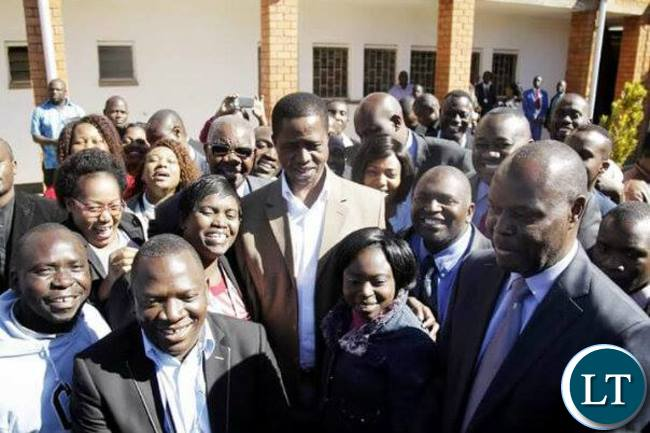 President Lungu with some ZNBC workers when he visited the institution in June last yearPresident Lungu with some ZNBC workers when he visited the institution in June last year