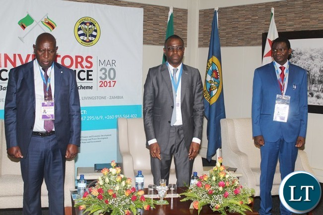 ENERGY Minister David Mabumba (l), African Development Bank (ADB) Amadou Hott and Zimbabwean Minister of Energy and Power Development Dr. Samuel Undenge during the the official opening of the Batoka Gorge Hydroelectric Power Investors Conference at David Livingstone Safari Lodge