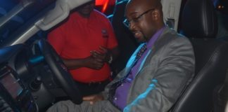 Minister of Transport and Communication Brian Mushimba having a feel of the new Fiat Vehicle immediately after it was launched by the Southern Cross Motors Limited in Lusaka last night,30-03-2017. Picture by Ennie Kishiki/Zanis.