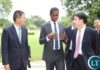 ,President Edgar Lungu confers with Chairman of the Board of Directors Bank of China Guoli Tian (r) while Chinese Ambassador Yang Youming listerns when the delegation called on the President at State House