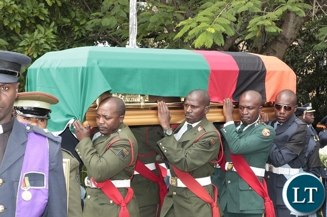 Pall bearers carrying the casket of late Regina Chifunda Chiluba at Anglican at Holy Cross in Lusaka