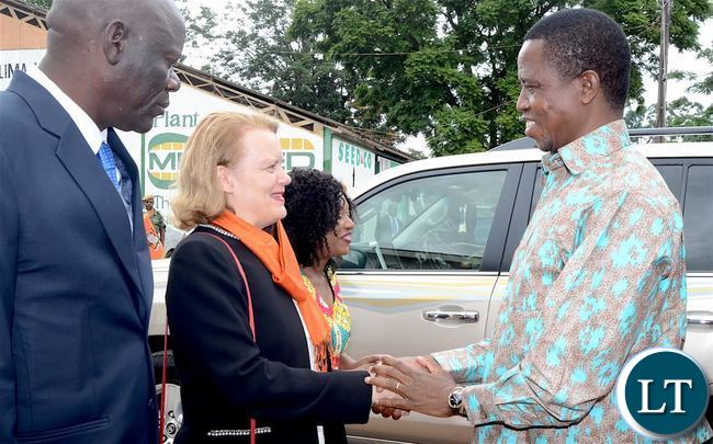 President Lungu being welcomed by UN Resident Coordinator Janet Rogan on arrival at Lusaka Show Grounds for the International Women's Day Commemoration at Lusaka Show grounds on Wednesday, March 8,2017 -Picture by THOMAS NSAMA/STATE HOUSE
